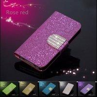 berry phones - Luxury Universal Leather Phone Cases Rhinestone Case Cover With Cards Pocket For Iphone7 Samsung HTC Sony Black Berry inch
