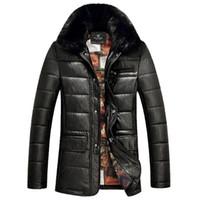 Wholesale Fall Thick Real Rabbit Fur Collar Winter Leather Jacket Men Motorcycle Jacket Male Fur Coat Jaqueta Motoqueiro Masculina Couro