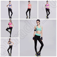 Wholesale LJJJ124 Women Fitness Running Clothes Tracksuits Gym Sport Suits Yoga Vest bra Pants Set Two piece Colors SET