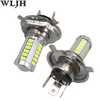 Wholesale WLJH H4 Lamp K White LM SMD LED H4 Plug Led V VAC Motorcycle Headlight Bulbs Moped Scooter Motorbike Headlamp