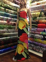 Wholesale hand screen print silk satin fabrics new design for Spring and summer