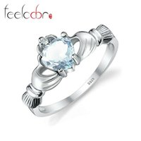 Wholesale Genuine Aquamarine Claddagh Ring Solid Sterling Silver Rings For Women Hand Heart Love Wedding Jewelry High Quality New