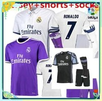 Wholesale DHL Real Madrid kits socks soccer jersey uniform home away men sets Maillot de foot Ronaldo james bale benzema kroos modric footb