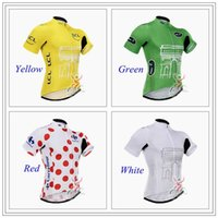 Wholesale Tour De France Summer Cycling Shirt Jerseys Moisture wicking Mens Bicycle Shirts Ropa Ciclismo Racing Short Breathable Cycling Bike Tops