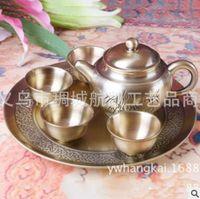 Wholesale Business Gift Zinc Alloy Tea Set Creative Metal Six piece Set Bamboo Tea Set Retro cm