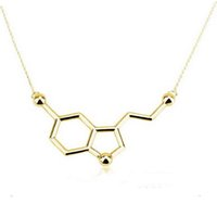 Wholesale Chemistry Structure Copper Serotonin Molecule Pendant Necklace K Gold Silver Plated Long Link Chain Anime Women Love Necklaces