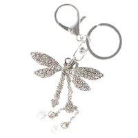 bags dragonflies - Friendly Silver Dragonfly Angel Wing Bead Lovely Pendent Accesories Crystal Purse Bag Key Chain