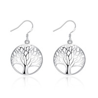 Wholesale Tree of Life Shaped Dangle Earrings Fashion Exquisite Classic Silver Earrings Jewelry for Women Wedding Party Engagement Accessories