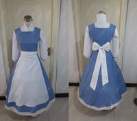 beauty party games - Custom made Beauty and the Beast Belle Maid Dress Costumes Blue color New Party Halloween Cosplay Costume for Women