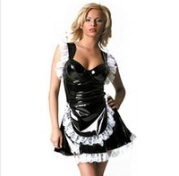 Wholesale Fetish Punk Gothic Leather French Maid Cosplay Costume Sexy PVC Lace Dress Halloween Latex Catsuit Nurse Lingerie S XXL