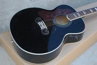 acoustic guitar left - Left Handed Black J200 Guitar Spruce Top Maple Sides Back Fishman EQ Acoustic Electric Guitar