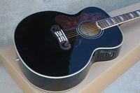 acoustic guitar left handed - Left Handed Black J200 Guitar Spruce Top Maple Sides Back Fishman EQ Acoustic Electric Guitar