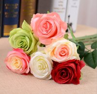artificial flower vase - Hot Sale Artificial wedding rose bouquets real look silk rose Flowers color mix decorative Birthday hotel Wedding Home vase