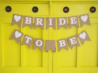 Wholesale Rustic BRIDE TO BE bunting banner garland wedding decor hens party bachelorette party bride to be bridal shower birthday