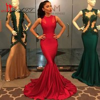 Cheap Long Red Mermaid Prom Dress 2016 Sexy O-neck Sleeveless Tight Stretch Satin Floor Length Cheap Prom Evening Gown