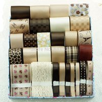 Wholesale TC4 retail mix satin ribbon and grosgrain ribbon in ribbons set mix set meters coffee ribbons