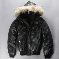 air force hoods - Fall Factory Genuine Leather Duck Down Jacket Men Hood Real Sheepskin Air Force Pilot Thick Bomber Real Fur Parkas Winter Coat ZH144