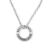 affirmation necklace - 100pcs Best Friends Affirmation Zinc Alloy Antique Silver Plated Circle Charm Link Chain Necklace Jewelry A121561
