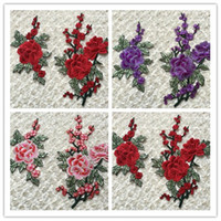Wholesale 1 set of patches water soluble peony flower applique sew on high quality and high density clothing patches zakka patchwork DIY handmade new