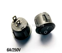 Wholesale Circular Rocker Switches Power swith lamp Switch Black feet gears KCD1 A V