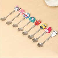 Wholesale Fashion Cartoon Silicone Handle Stainless Steel Spoons Mixing Cute Mini Spoons Creative Tableware For Dessert Coffee Ice Cream
