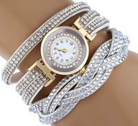 alloy steel fasteners - Women Bracelet Quartz Wrist Watch Round Shaped Rhinestone Decorated Fastener Stainless Steel Leather Band