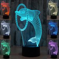 Смешанная серия Дельфин Delphinus 3D оптическая Night Light 10 светодиодов акриловые световой панели DC 5V Батарея AA