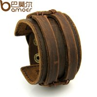 bangles braclets - Free Fast Shipping Leather Cuff Double Wide Bracelet and Rope Bangles Brown for Men Fashion Man Braclets Unisex Jewelry PI0296