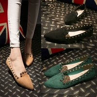 Wholesale Small Heel Shoes Suede - New Small Chili Same Paragraph Rivets Women Flat Shoes Big Yards Shallow Mouth Pointed Flat Heel Suede Casual Ladies Single Shoes