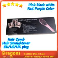 Wholesale Hair Straightener Iron HQT Hair iron Hair Brush Hair Styling Tool comb With LCD BLACK WHITE PINK US EU UK AU