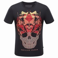Wholesale NEW Arrive Tide Brand Cotton Short Fit Slim Casual Tee D Print skulls Rhinestone MENS T shirts Top Quality P8082