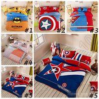 bedclothes batman - Cartoon Bedding Set set Superman Captain America Batman Bedding High Quality Design Bed Linen Bedclothes Duvet Cover Set CCA4445 set
