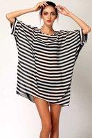 ball swimwear - Chiffon Oversized Beach Dress New Sexy Black White Stripes Bikini Cover Up Women Chiffon Oversized Beach Dress Beachwear Swimwear Beach