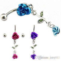 Wholesale Romantic Connected Rose Dangling Jewelry Belly Ring Navel Button G