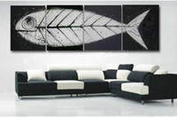 big fossils - Retro hand made big oil paintings piece Fish bones Fossil canvas art white black modern home decorative art sets on the wall