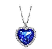 al por mayor colgante de zafiro titánica-Zircon Clásico Titanic Ocean Heart Collar Zafiro Cristal Azul Oscuro Corazón Pendiente Pendiente Collar Collar Mujer Joyería N54