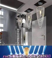 Wholesale LED light Chrome K9 Modern crystal chandelier lighting D17 H45cm V V Transparent color Crystal Ceiling Light For Living Room MYY168