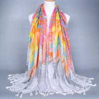 Wholesale 2 colors Muslim Hijabs islamic Hijabs women s scarves big size cm women s head wrap volie with tassel flower printing