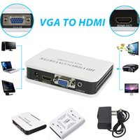 Wholesale New P Audio VGA to HDMI Full HD Video HDTV Converter Box Adapter For Laptop DVD