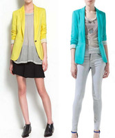 Wholesale 2016 New Ladies Suits Blazers Hot Blazer Women New Candy Color Jackets Suit Slim Yards Womens Blazers Work Wear Jacket Black Blue