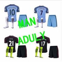 Wholesale Mixed buy DHL Manchester City kit Suit Jerseys home Blue Away Black KUN AGUERO SANE GUNDOGAN Shirts