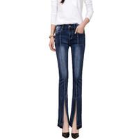 Wholesale Women s front split slim skinny jeans Lady s stretch denim boot cut flare pants Long trousers