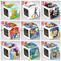Wholesale Poke LED Alarm Clock D colorful Pikachu flashing light Cartoon Pocket Digital Desk Table Alarm Clock Night Light For Kids Birthday Z248