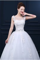 autumn yard decorations - In The New Bride Wedding Dresses Spring Big Yards Lace Neat Wedding Dress Bow Waist Decoration Round Collar Lace up Design B