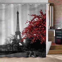Wholesale Shower Curtain Fabric Waterproof Bathroom Paris Eiffel Tower Polyester Hooks