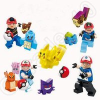 Wholesale 4 Design Poke Mon Go Action Figure Minifigure Building Blocks DIY Pikachu Squirtle Model Toys Miniature Diamond Brick Toys CCA4854