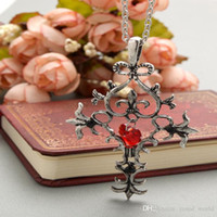age for love - 2016 Vampire Diaries jewelry beautiful red heart pendant cross necklace hot sale higt quality gift for gentle women of all age