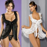 Wholesale sexy fashion lace bow ruffles sheer Condole belt nightdress t pants sets women nightgown Lingerie pajamas nightwear sleepwear suit