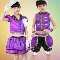 Wholesale High Quality Sequins Jazz Dance Suits Costume Children Stage Performance Clothing Sets Boys Girls Children s Set Dancewear UA0168 salebags