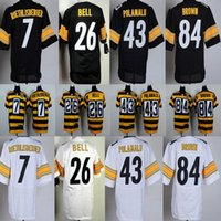 antonio brown jersey - 2016 Elite Steelers Mens Le Veon Bell Antonio Brown Ben Roethlisberger Stitched Jerseys Anniversary Free Drop Shipping